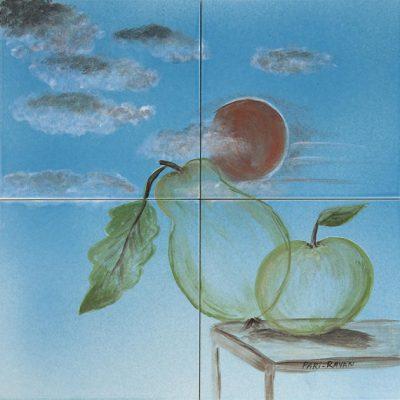Apfel und Birne im Glas - 80 x 80 cm