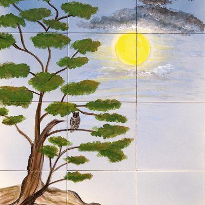 Eule im Baum - 80 x 60 cm
