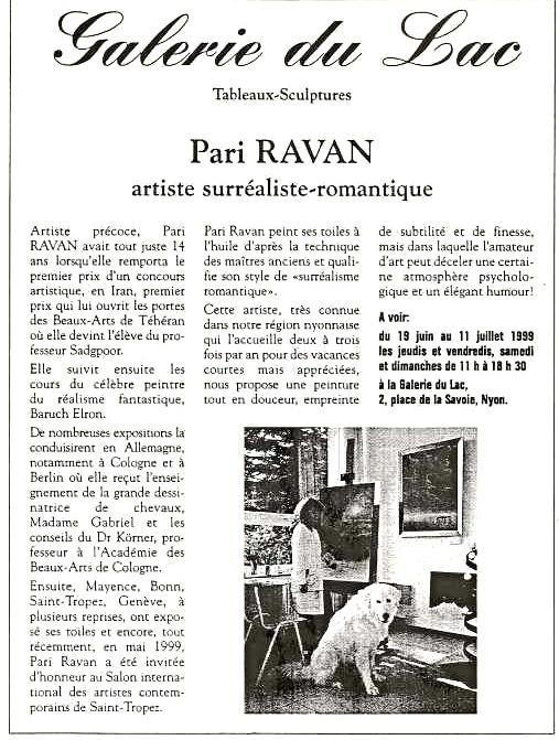 La Côte - Juin 1999 Pari Ravan expose à La Galerie du Lac en Suisse