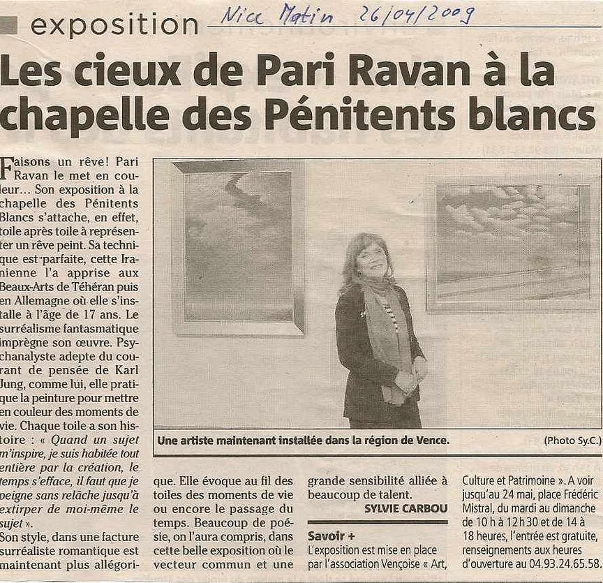 Nice Matin - Avril 2009 Pari Ravan expose à Vence