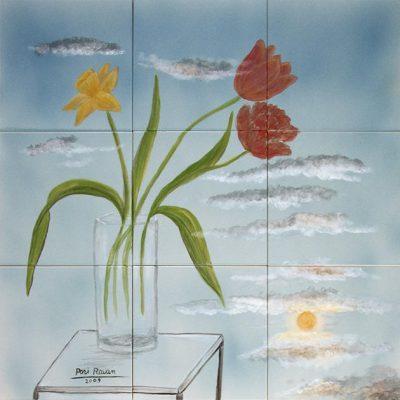 Tulpen und Narzisse im Glas - Sold